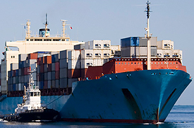 shipping vessel with cargo containers